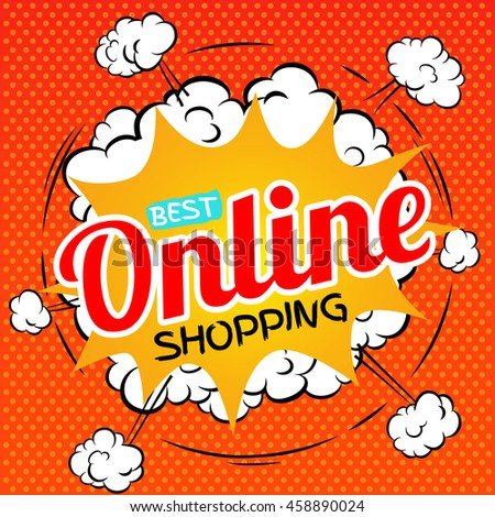 Best online shopping. illustration in pop art style. Raster version