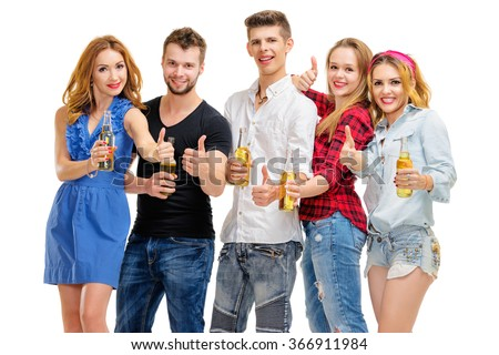 Best party! Feeling good! Group of five happy smiling friends having fun, showing thumbs up together. Isolated on white.