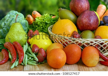 Best picture of  Fresh and delicious Fruit and Vegetables shot in still life concept. Picture taken under a warm morning light