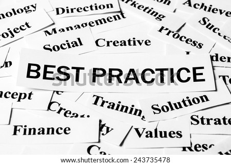 Best Practice concept with some related words paper. - stock photo