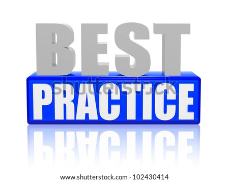 Best practice 3d letters with blue box - stock photo