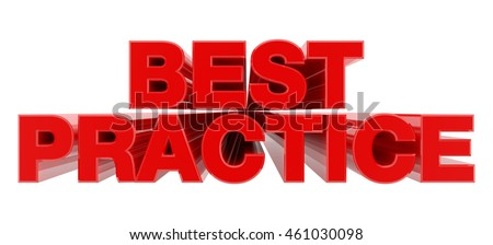 BEST PRACTICE red word on white background illustration 3D rendering