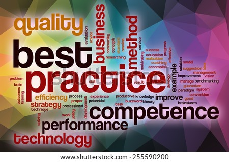 Best practice word cloud concept with abstract background - stock photo