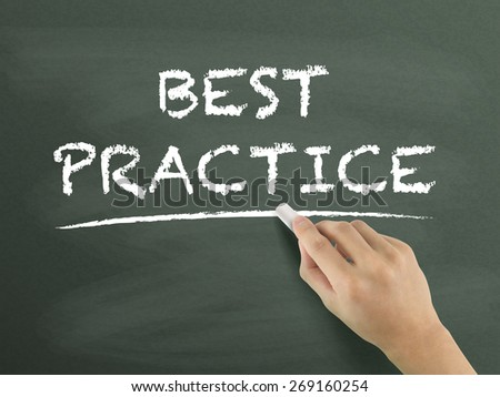 best practice words written by hand on blackboard - stock photo