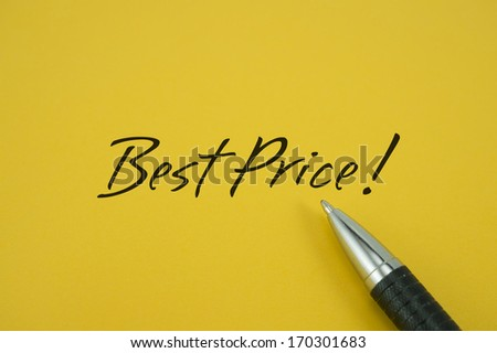 Best Price! note with pen on yellow background
