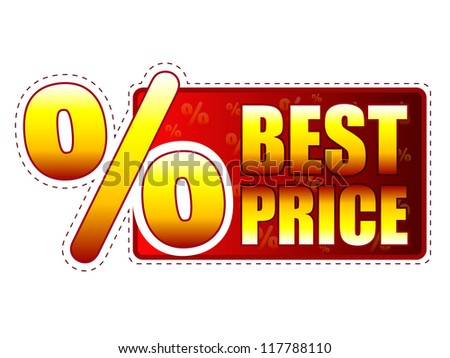 best price - red and yellow label with text and percentage sign