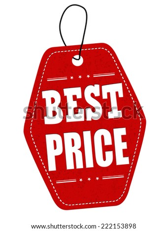 Best price red leather label or price tag on white background - stock photo