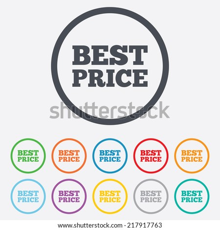 Best price sign icon. Special offer symbol. Round circle buttons with frame.