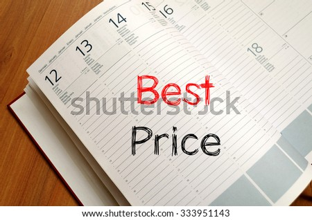 Best price text concept write on notebook