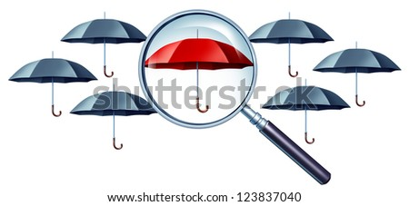 Best protection concept as grey umbrellas with a magnifying glass focusing on a red one standing out from the crowd as a confident icon of security and safe financial peace of mind.