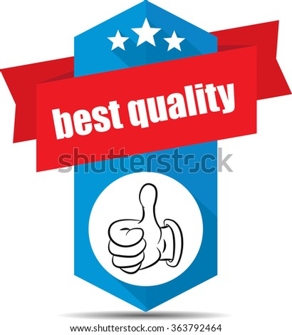 Best quality blue label and sign. - stock photo
