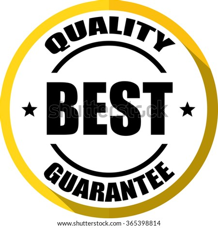 Best quality guarantee yellow, Button, label and sign. - stock photo