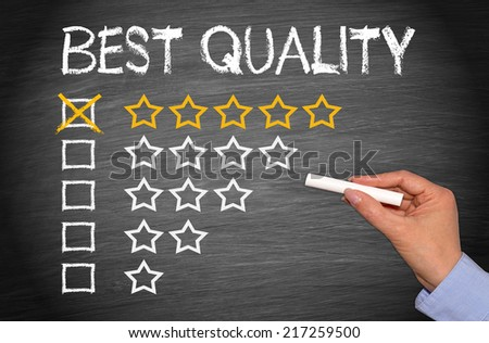 Best Quality - 5 stars on chalkboard or blackboard background - stock photo