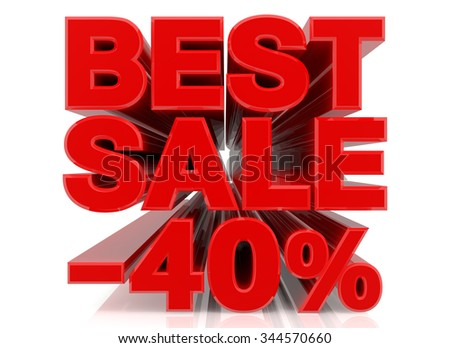 BEST SALE -40% word collection on white background 3d rendering