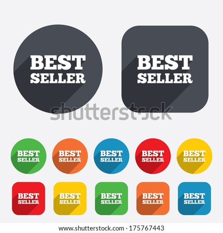 Best seller sign icon. Best seller award symbol. Circles and rounded squares 12 buttons.