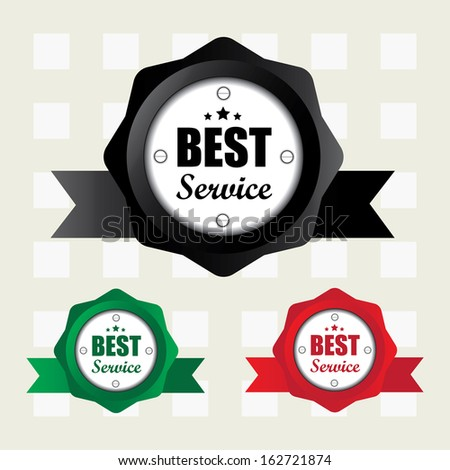 Best service colorful labels with ribbon. jpg.  - stock photo