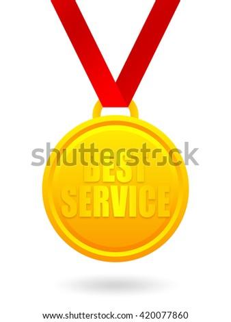 Best service golden medal - stock photo