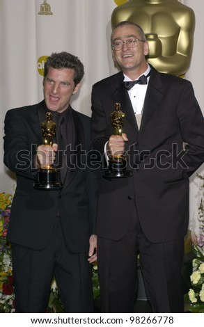 Best Sound Editing winners ETHAN VAN DER RYN (left) & MICHAEL HOPKINS at the 75th Annual Academy Awards at the Kodak Theatre, Hollywood. March 23, 2003 - stock photo