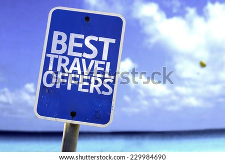 Best Travel Offers sign with a beach on background - stock photo