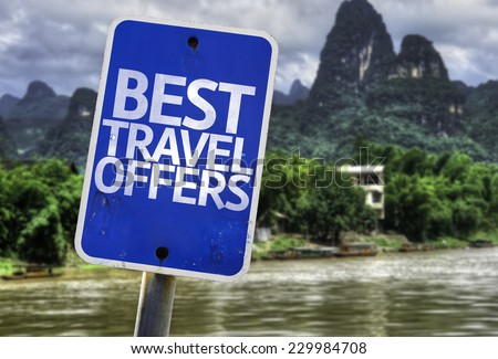 Best Travel Offers sign with a forest background - stock photo