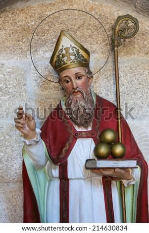 BETANZOS, SPAIN - JULY 30, 2014: Statue of Saint Nicholas of Bari in the church of San Francisco in the historic town Betanzos, Galicia, Spain.  - stock photo
