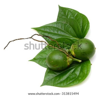 betel nut and betel leaf isolated on white