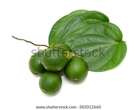 betel nuts and betel leaf isolated on white background