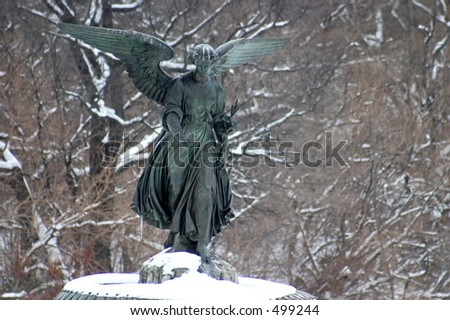 Bethesda Fountain in Central Park in the snow - stock photo