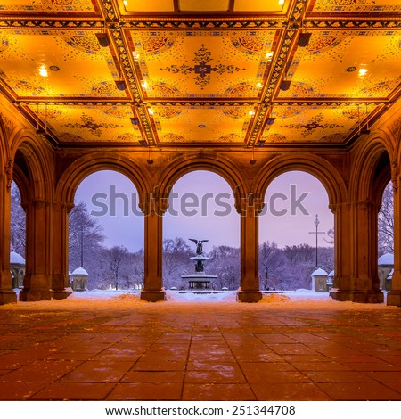 Bethesda Fountain in Central Park New York after snow storm Linus
