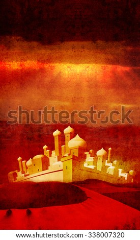 bethlehem across desert 3 - stock photo