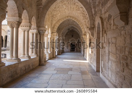 BETHLEHEM, ISRAEL - MARCH 6, 2015: The gothic corridor of atrium at St. Catharine church.