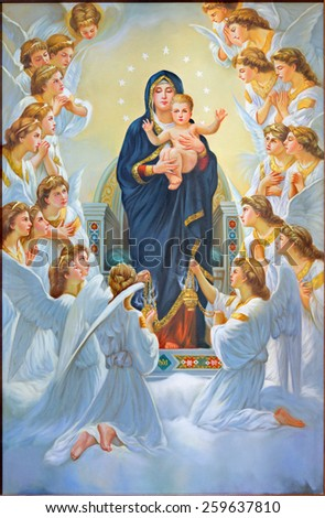 BETHLEHEM, ISRAEL - MARCH 6, 2015: The Madonna among angels from 20.cent. in Syrian orthodox church. - stock photo