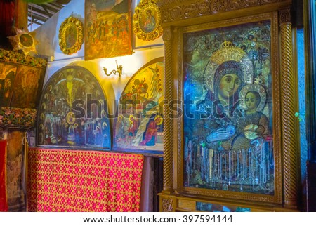 BETHLEHEM, PALESTINE - FEBRUARY 18, 2016: The old silver icon to the Madonna and the child in the Church of the Nativity, on February 18 in Bethlehem.