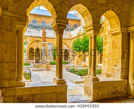 BETHLEHEM, PALESTINE - FEBRUARY 18, 2016: The view of the Franciscan courtyard with the St. Jerome statue in the middle, on February 18 in Bethlehem.