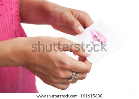 Betrayed wife with note from husband's lover, isolated background - stock photo