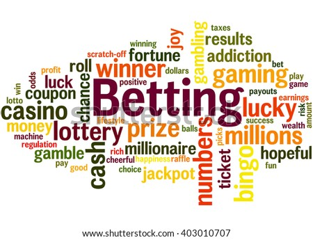 Betting, word cloud concept on white background.