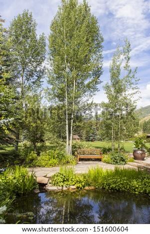 Betty Ford Meditation Garden in Vail Colorado - stock photo