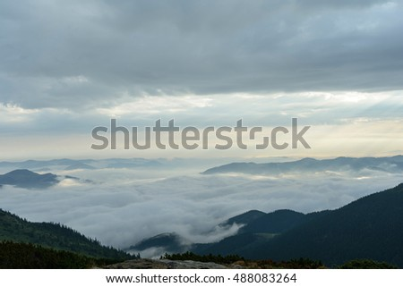 between the fog and clouds