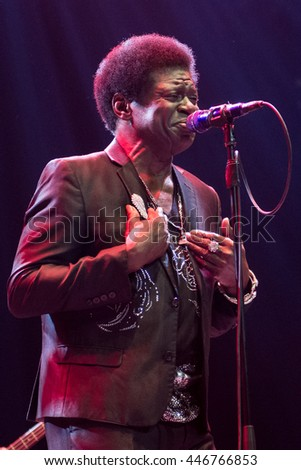 Beuningen, the Netherlands - June 25, 2016: US soul singer Charles Bradley performs live on stage at Down The Rabbit Hole Festival.