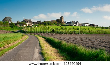 Beutiful typical french village in countryside of Normandy - France - stock photo