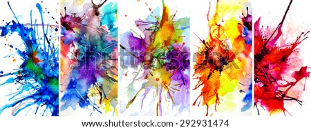 beutiful watercolor backgrounds, collage - stock photo
