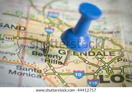 Bevely hills with blue pin - stock photo