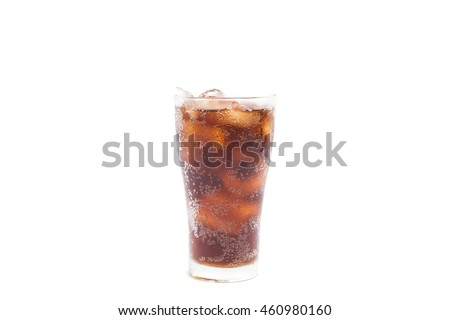 beverage Cola  with ice cubes on white background.