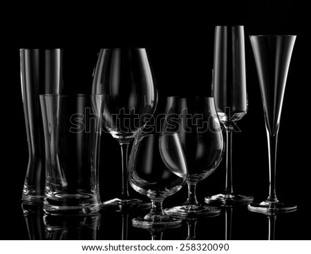Beverage glasses on a black background