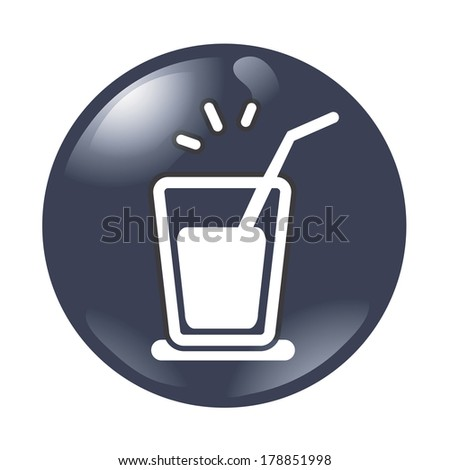 Beverage in glass with straw