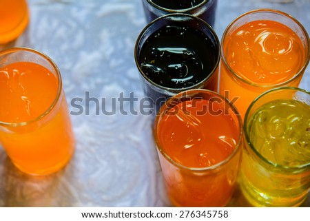 Beverages and ice. - stock photo