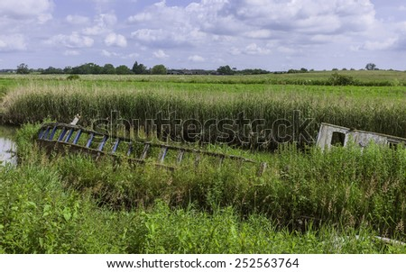 Beverley, Yorkshire, UK. A derelict river boat lays beached along the river Hull surrounded by reeds and overgrown vegetation near Beverley, Yorkshire, UK. - stock photo