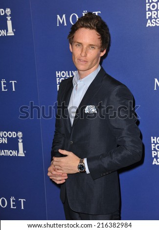 BEVERLY HILLS, CA - AUGUST 14, 2014: Actor Eddie Redmayne at the Hollywood Foreign Press Association's annual Grants Banquet at the Beverly Hilton Hotel.  - stock photo