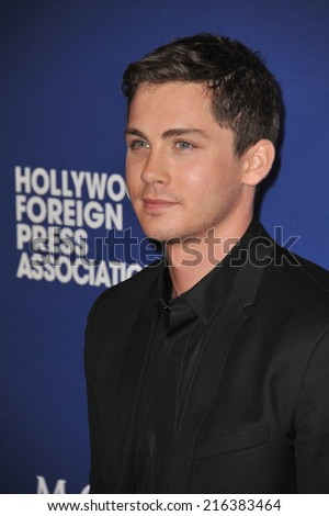 BEVERLY HILLS, CA - AUGUST 14, 2014: Actor Logan Lerman at the Hollywood Foreign Press Association's annual Grants Banquet at the Beverly Hilton Hotel.  - stock photo