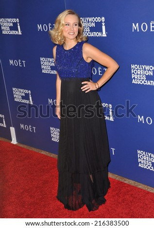 BEVERLY HILLS, CA - AUGUST 14, 2014: Actress Kristen Bell at the Hollywood Foreign Press Association's annual Grants Banquet at the Beverly Hilton Hotel.  - stock photo